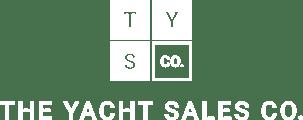 TYSC horizontal white logo on transparent background
